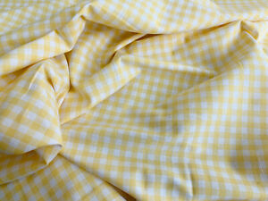Fabric by the Metre ~ 100% Cotton Homespun Check Gingham ~ YELLOW check fabric