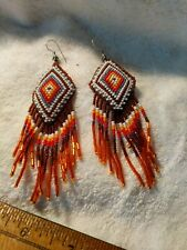 Native American Styled Drop Earrings Diamond