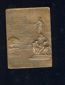jolie plaquette Emile Chausse la ville de Paris par Henry Nocq
