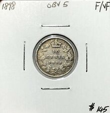 Canada 1898 Obverse 5 Ten Cent Silver 10 Cents F/VF