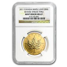 2011 Canada 1 oz Gold Maple Leaf MS-67 NGC (Mint Error) - SKU #88269
