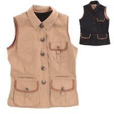 Ralph Lauren Women Black/Brown Reversible Cotton With Leather Trim Safari Vest S