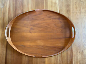 Vintage Large Dansk Jens Quistgaard IHQ Teak Wood Tray With Raised Handled