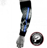 Police Lives Matters Thin Blue Line Flag Skull Compression Dri-Fit Arm Sleeve