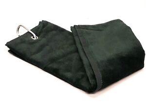Shooting Towel Black 100% Cotton Tri-Fold with Belt loop and Carabiner gun towel