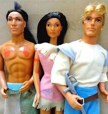 3 Doll LOT 1995 Disney Princess Pocahontas Kocoum Captain John Smith + Clothes