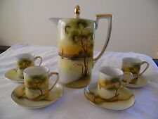 Noritake Early 1900's Chocolate Pot and 5 Matching Demi Cups & Saucers Lake