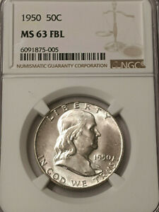 1950 Franklin Silver Half  NGC MS 63++ FBL FULL BELL- WHITE BRIGHT BEAUTY !!