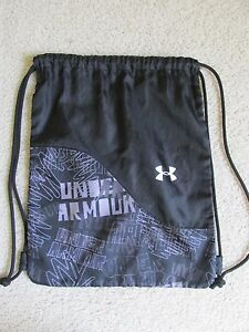 Under Armour Drawstring Backpack Black/Gray/White Sackpack Bag RARE UNIQUE!!!
