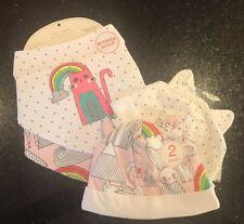 Next Baby Girl Gorgeous Cat & Rainbow 🌈 Dribble Proof Bibs & Hats - 0-3 BNWT