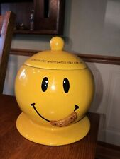 """Vintage Smiley Face Cookie Jar Eating Cookies Are Happiness You Can Eat 8"""" Tall"""