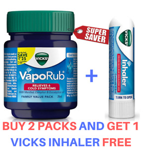 Vicks Vaporub Ointment And Inhaler Pack Relieves Blocked Nose Cold Relief 25g