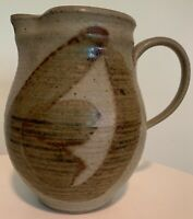 Vintage 70s Studio Pottery Pitcher Stoneware Ceramic Mid Century Modern Signed