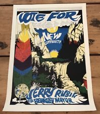 Vote For JERRY RUBIN For Berkeley Mayor Rare 1967 Poster Hippy/Psychadelic