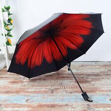 Anti-UV Sun Rain Umbrella Parasol Protection Windproof Flower Folding Travel Hot