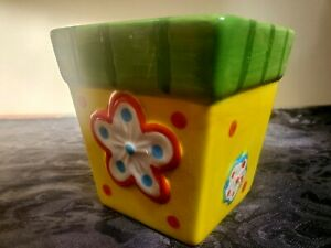 "Ceramic Garden Flower Pot 3.25""; Flower design, Yellow/Green Planter Decor"