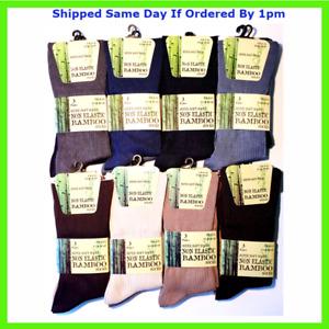 6 Pairs Mens Extra Wide Diabetic Luxury Bamboo Socks Super Soft Loose Top Sock