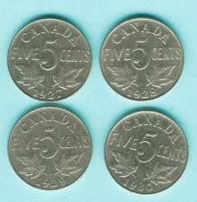 1927 1928 1929 1930  CANADA 5 Cent Nickels Coin KING GEORGE V