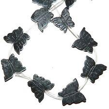 NG2286f Dark Green 22mm Flat Carved Butterfly Serpentine Gemstones Beads 14/pkg