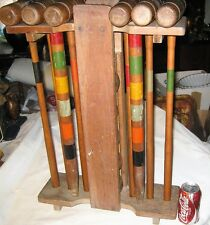 ANTIQUE USA PRIMITIVE COUNTRY OIL PAINTING WOOD BALL POLE STICK CROQUET TOY GAME