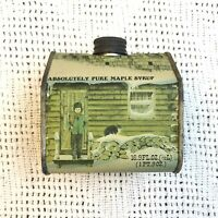 Vintage ABSOLUTELY PURE MAPLE SYRUP 16.9 OZ. Advertising Tin Cabin House 1984