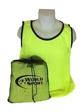 12 Pack Adult YELLOW Blank Scrimmage Vests pinnies bibs by World Sport