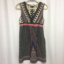 Kimchi Blue Med  Silk Sun Dress Tribal Print Sleeveless Empire Waist Boho Chic