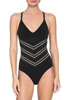 Robin Piccone Naomi Crisscross One-Piece Swimsuit 191112 Black Ivory 14