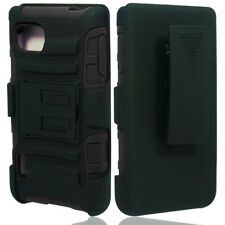 Full Black Rugged Case Cover w/Holster For T-Mobile LG Optimus F3 P659 MS659