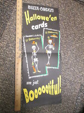 Halloween Buzzo Cardoza cards skeleton monster 1950s store display poster sign