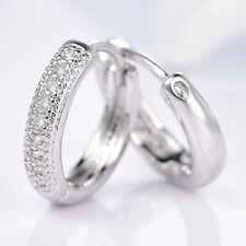 Silver Huggie White Gold Filled Pave Crystal Sapphire Women Lady Hoop Earring