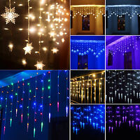 3.5M 96LED Wall Hanging Icicle Curtain Fairy Lights String Christmas Party Decor
