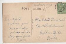 Edith Beardall, 54 Albert Ave, Bobbers Mill Nottinghamshire 1916 Postcard, B377