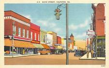 CULPEPER, VA  Virginia   DAVIS STREET SCENE-Drug Store   c1940's Linen Postcard