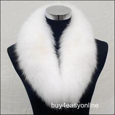 """110cm Women White Real Genuine Big Fox Fur Collar Scarf Wrap Shawl Neck Warm 43"""""""