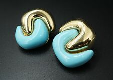 Rare Valentin Magro 18k Yellow Gold Carved Turquoise Clip Earrings 41g CO175