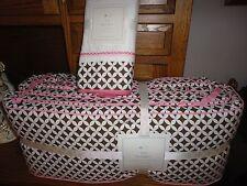 NWT Pottery Barn Kids Ava Crib Bumper and Cribskirt-Geo /brown/pink/white