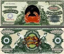 Cancer Zodiac Million Dollar Bill Fake Play Funny Money Novelty Note+FREE SLEEVE