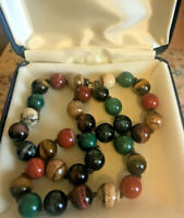 VINTAGE HAND STRUNG ART DECO MIXED COLORFUL AGATE BEAD NECKLACE