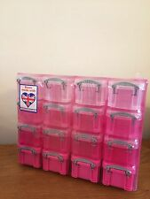 Really Useful Box,Pink Organiser Box with 16 x 0.14 Litre Boxes In Pink & White