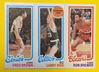 1980 TOPPS FRED BROWN LARRY BIRD ROOKIE, RON BREWER Centered High Grade 🔥🔥🔥