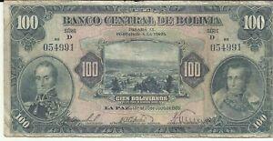 BOLIVIA 100 BOLIVIANOS 1928  P 125. F CONDITION. 8RW 12AGO