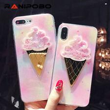 Cute 3D Ice Cream Powder TPU Soft Pink Phone Case Cover For iPhone X 8 7 6 Plus