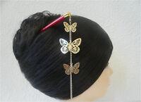 "Japanese Kumi Hair Stick Kanzashi Gold-tone ""Cho Cho"" Butterfly Design Ornament"