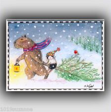 ACEO GUINEA PIG & CAPYBARA CHRISTMAS TREE SNOW PAINTING PRINT BY SUZANNE LE GOOD