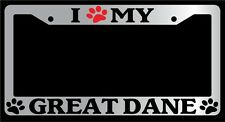 Chrome License Plate Frame I Heart My Great Dane (Paw) Auto Accessory 412