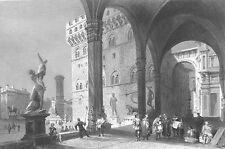 Florence,  PIAZZA DELLA SIGNORIA LOGGIA DEI LANZI ~ Old 1841 Art Print Engraving