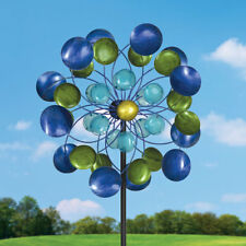 Aurora Borealis Kinetic Wind Spinner Outdoor Lawn Decor Durable Metal Yard Art