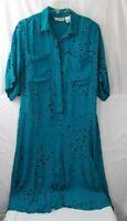 Liz Claiborne Womens Shirt Dress Teal Blue Splatter Dots Pockets Short Sleeve 14