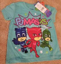 "PJ Masks ""Catboy, Owlette, Gecko"" Toddler Girl Mint Glitter Graphic Tee 2T"